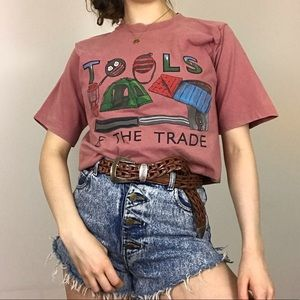 Vintage Single Stitch Camping Tools Red T-Shirt